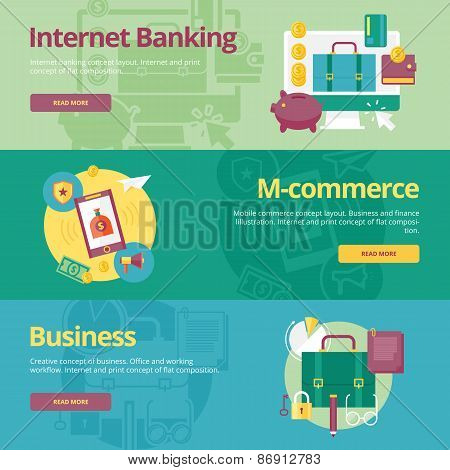 Set of flat design concepts for mobile banking, m-commerce, business. Concepts for web banners and p