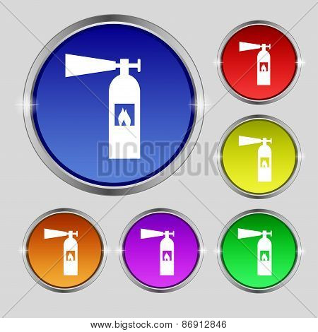 Fire Extinguisher Icon Sign. Round Symbol On Bright Colourful Buttons. Vector
