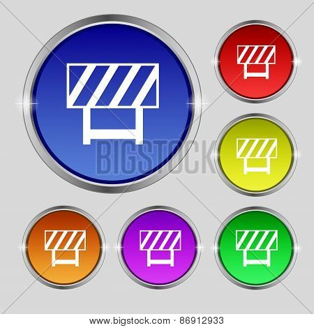 Road Barrier Icon Sign. Round Symbol On Bright Colourful Buttons. Vector