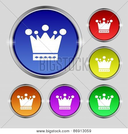 Crown Icon Sign. Round Symbol On Bright Colourful Buttons. Vector