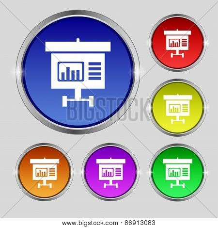 Graph Icon Sign. Round Symbol On Bright Colourful Buttons. Vector