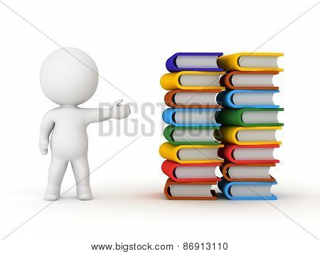 3D Character Showing Two Big Stacks of Books
