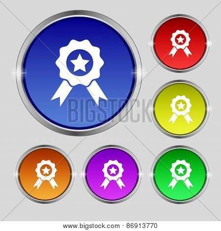 Award, Medal Of Honor Icon Sign. Round Symbol On Bright Colourful Buttons. Vector