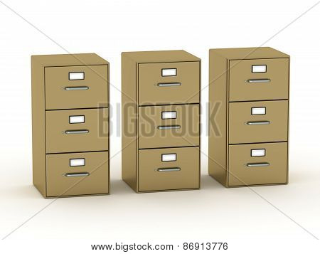 Three 3D Archive Cabinets