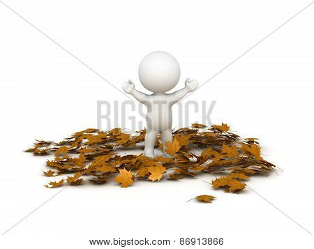 3D Character with Arms Up in Pile of Autumn Leaves