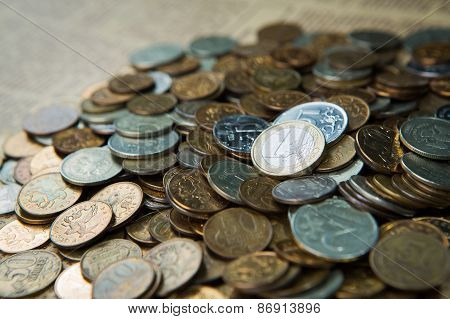 One Euro Coin On Russian Roubles Coins