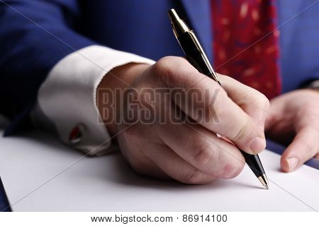 Male Hand Holding The Pen