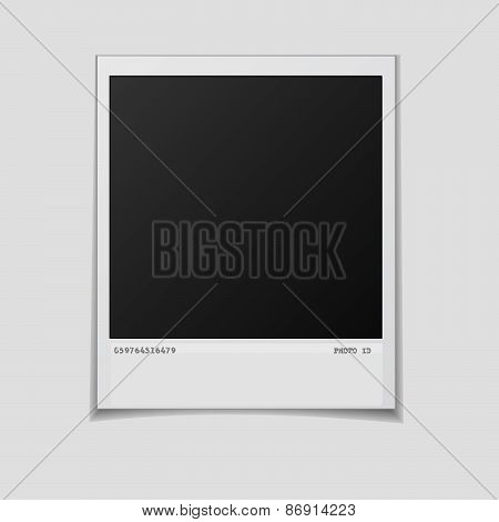 Blank photo frame isolated on white background.  Vector illustration. Realistic. Face side.