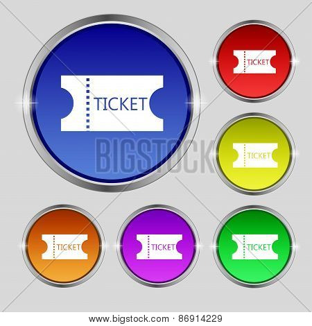 Ticket Icon Sign. Round Symbol On Bright Colourful Buttons. Vector