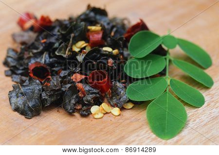 Fried And Moringa Leaves