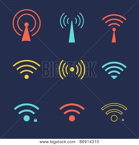 Set of wi fi icons for business or commercial use.