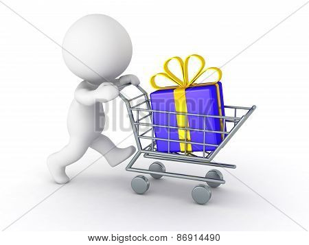 3D Character With Shopping Cart Buying a Gift