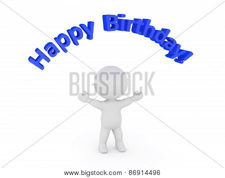 3D Character and Happy Birthday Text