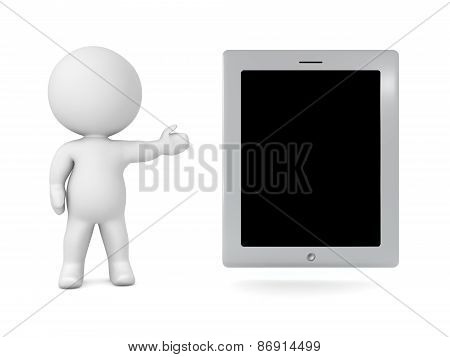 3D Character Showing Generic Tablet