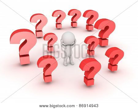 3D Character with hands on his head and many red question marks