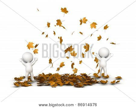 3D Characters Jumping and Many Falling Autumn Leaves