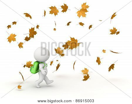 3D Character with School Bag and Autumn Leaves