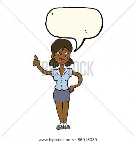 cartoon woman with great idea with speech bubble