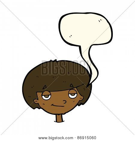 cartoon smug looking boy with speech bubble