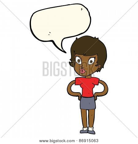 cartoon woman with hands on hips with speech bubble