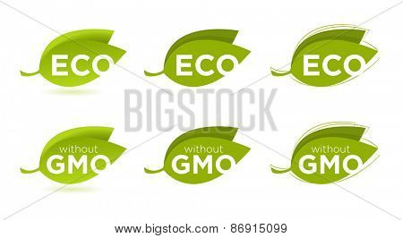 Vector set of leaves with Eco text, concept of healthy food