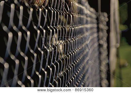 Close up of steel wired mesh fence