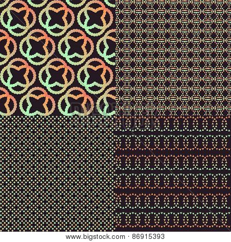 Set of four brown abstract retro color patterns