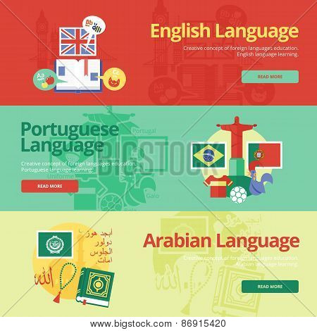 Flat design banners for english, portuguese, arabian. Foreign languages education concepts for web b