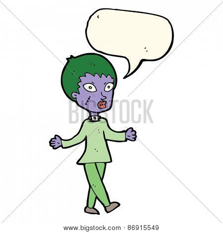 cartoon halloween zombie woman with speech bubble