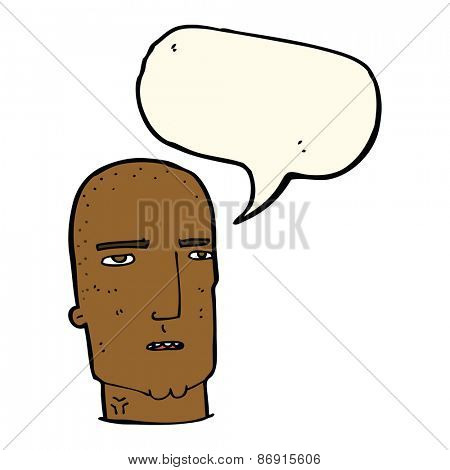 cartoon bald tough guy with speech bubble