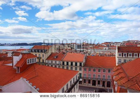 Lisbon Spring Skyline In The Portugal