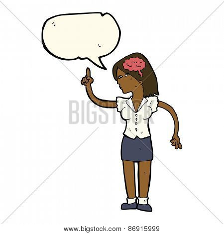 cartoon woman with clever idea with speech bubble