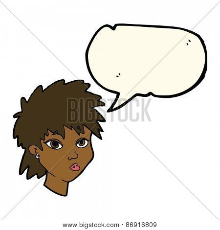 cartoon curious girl with speech bubble