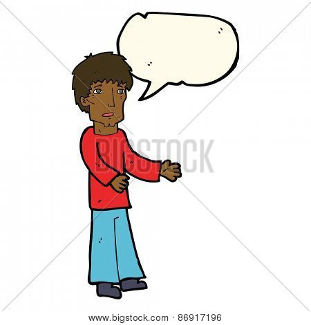 cartoon man explaining with speech bubble