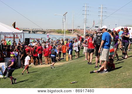 Crowd at Dragon Boat Festival on Tempe Town Lake, Arizona