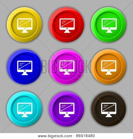 Diagonal Of The Monitor 27 Inches Icon Sign. Symbol On Nine Round Colourful Buttons. Vector