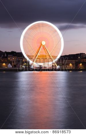Spinning Ferris Wheel At Night In Toulouse