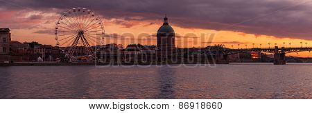 Panorama Of Toulouse Ferris Wheel And Hopital De La Grave At Sunset