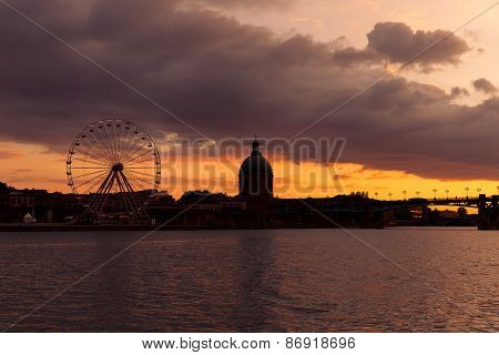 Toulouse Ferris Wheel At Dusk