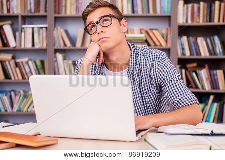 Day Dreaming In Library.