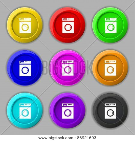 Washing Machine Icon Sign. Symbol On Nine Round Colourful Buttons. Vector
