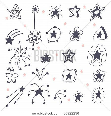 Collection Of Hand Drawn Stars. Doodle Stars And Firework