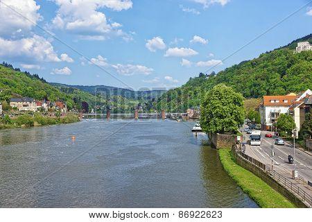 Landscape Of Quays Of Neckar River In Heidelberg