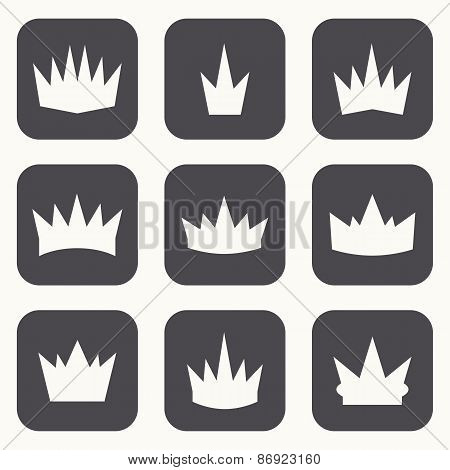 Vintage Crowns. Icons And Silhouettes