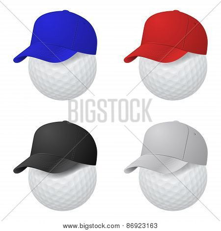 Vector Set Of Caps On Golf Balls.