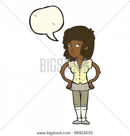 cartoon pretty woman with hands on hips with speech bubble
