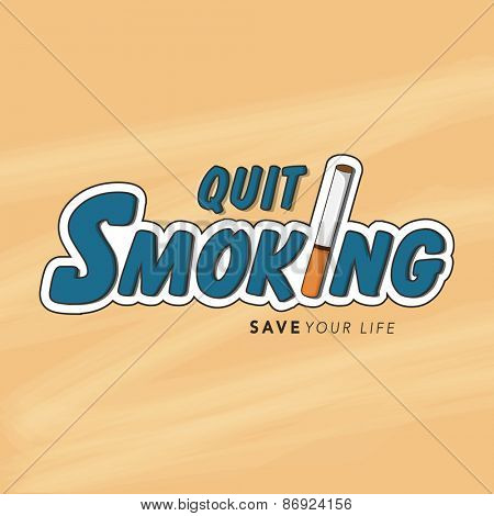 No Smoking Day poster, banner or flyer design with text Quit Smoking and cigarette.