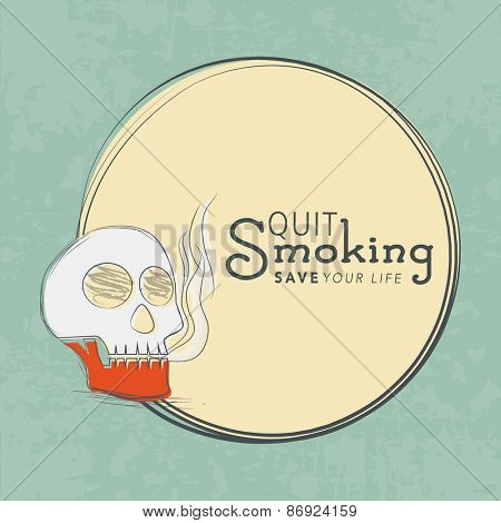 No Smoking Day concept with human skull and text Quit Smoking in rounded frame on grungy background.