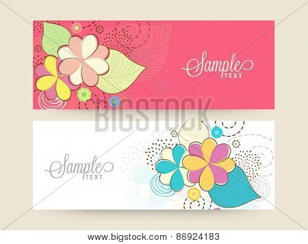 Beautiful floral design decorated website header or banner set in two colors.