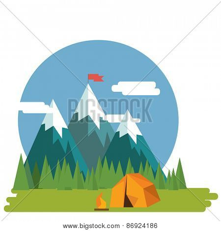 Flat design nature landscape illustration of  mountains and forrest